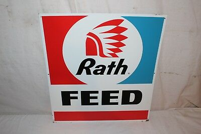 """Vintage 1960's Rath Feeds Cow Pig Chicken Farm 20"""" Metal Sign W/Indian~Nice"""