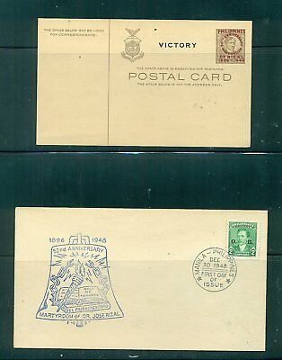 Philippines Postal Card (Unused), 1946 and FDC, 1948