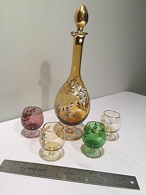Vintage Hand Painted Decanter set w/Cordial Glasses Gold Trim