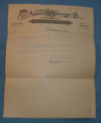 1911 Letter From National Beverage Co to Coca Cola - Marion SC