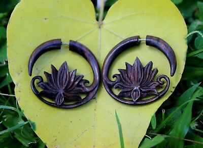 Fake Gauge earrings, Spiral Organic , Wood Earrings ,tribal style,lotu