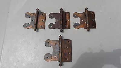 Antique Vintage BALL TOP STEEL HINGES 4 HINGES ~ 3 SAME  ~1 LARGER~ICE BOX STYLE