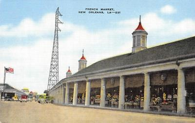 FRENCH MARKET New Orleans, Louisiana Vintage Linen Postcard ca 1940s