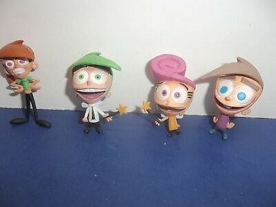 2003 Viacom Fairly Odd Parents Lot Of 4 Action Figures Timmy Wanda Cosmo Vicky