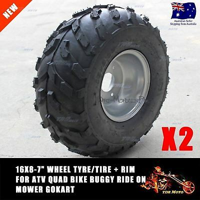 "Pair of 16x8-7"" Wheel Tyre/Tire with Rim Buggy Ride on Mower ATV Quad Bike TDR"