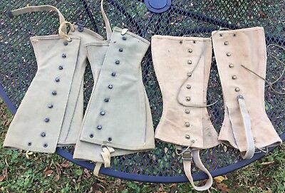 Lot Of 2 Pair WW2 US ARMY LEGGINGS / SPATS MILITARY Fraser 2R 3R FIELD GEAR