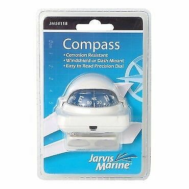 Boat Compass With Bracket White 360 Degree Small To Medium Boats New