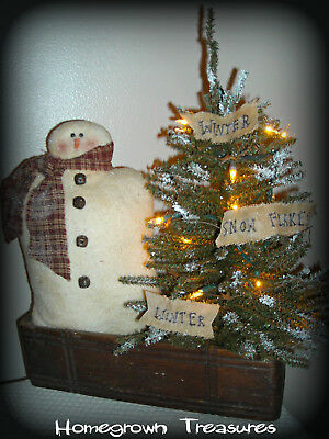 Christmas!  Primitive Snowman and Lighted Tree in Vintage Sewing Drawer!!