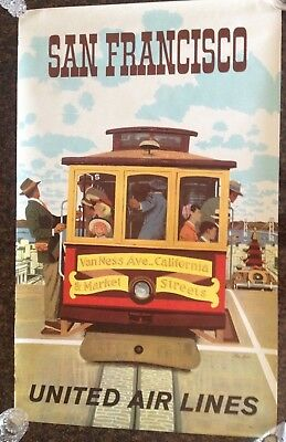 Original United Airlines San Francisco Poster by Stan Galli 40 x 25 Cable Car