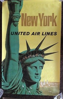 Original United Airlines New York Poster by Stan Galli 40 x 25 Statue of Liberty
