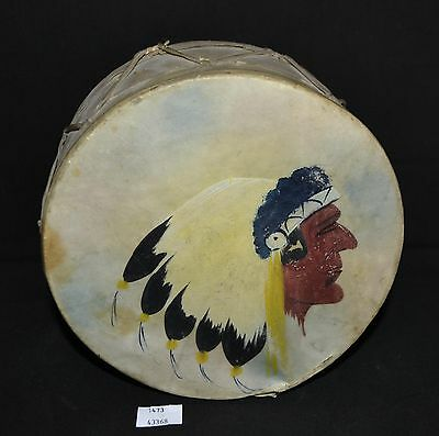 """ThriftCHI ~ Native American Wooden Drum w Animal Hide Hand Painted Rattles 6.75"""""""