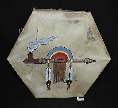 ThriftCHI ~ Native American Hexagonal Wooden Drum w Animal Hide Covering