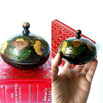Small handmade hand painted lacquered box with lid black floral natural vintage