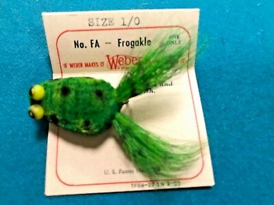 "Vintage"" Weber""  Fly Rod Frog In Orig. Box ""Frogakle"" on Orig. Card. 1950's.Neat"
