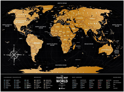 Scratch Off World Travel Map: 1DEA.me Black Scratchable Poster of the World & US