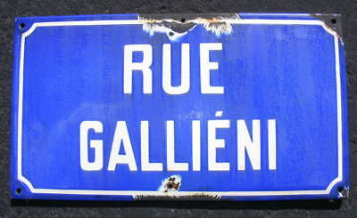 Antique French enamel steel street road sign plaque RUE GALLIENI Paris Suburb