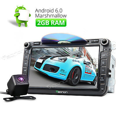 """Android 6.0 2GB 8"""" HD Car Stereo Radio DVD GPS AUX A For VW/Seat/Skoda +RearCam"""