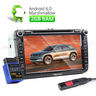 Car Stereo GPS DVD For VW/Seat/Skoda Android 6.0 OS 2GB Bluetooth WiFi +OBD-ll a