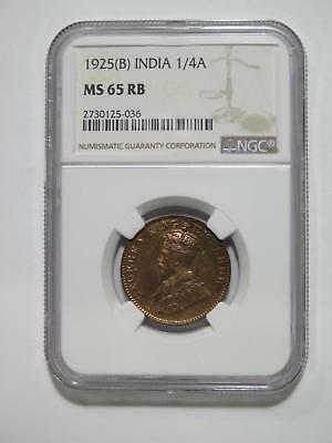 British India 1925 B 1/4 Anna Toned Ngc Graded Ms65 World Coin Collection Lot