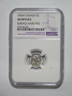 Canada 1903 H 5 Cents George Vi Ngc Graded Au-D Silver World Coin Collection Lot