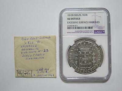 Brazil 1810 B 960 Reis Ngc Au-D Over 8 Reales Ex:kurt Prober Coin Collection Lot