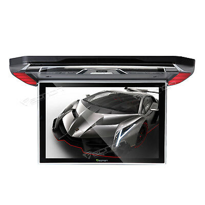 """Gray 12.1"""" Slim Car Flip Down Monitor Ceiling Overhead Roof Mounted HD Screen A"""
