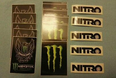5-pcs EA- Monster army + Monster Energy Logo Sticker Decal + NITRO decal.
