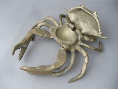 Vtg Hollywood Regency Solid Brass Sea Blue Crab Trinket Box Nautical Decor