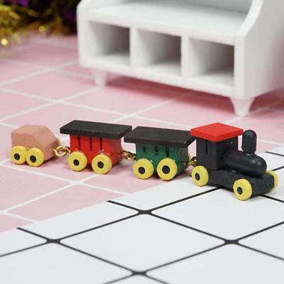 Cute 1/12 Dollhouse Miniature Painted Wooden Toy Train Set and Carriages