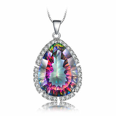 12ct Genuine Fire Rainbow Coated Quartz Pendant Necklace 925 Sterling Silver