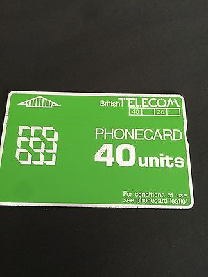 British Telecom phonecard 40 units Green