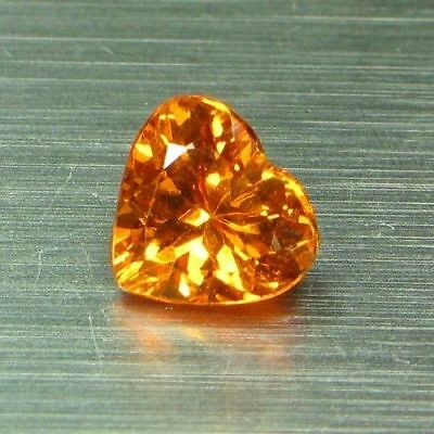 0.76 Cts-Top Electric Fire-Rare Heart Shape-100 % Natural Mandarin Spess Garnet