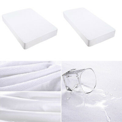Cotton Terry Towelling Mattress Protector Waterproof Anti Mite Bed Cover White