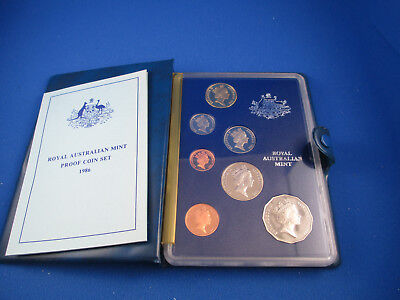 1986 Australian Proof Coin Set - 7 Coins - Int. Year of Peace - With COA