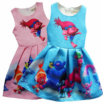 New Girls Skate Dress Kids Film Trolls Poppy Princess Costume Summer Party Dress