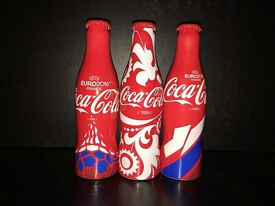 3 empty bottles of Coca Cola UEFA Euro 2016 France, collection from Russia