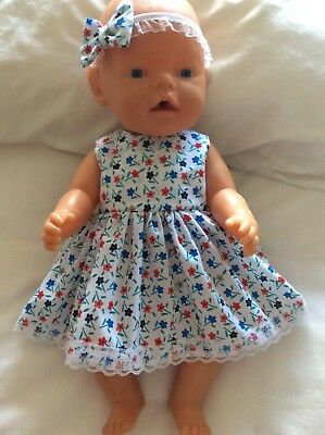 "Doll Clothes to fit 17"" Baby Born doll ~ Dress & hband  ~ Blue Red Flowers"