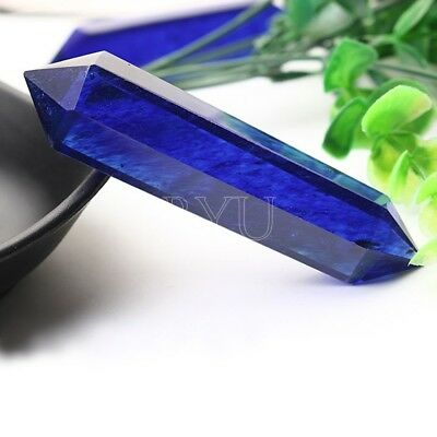 1pcs 80*25mm Rare Natural Royal Blue Rock Quartz Crystal DT Wand Point Healing