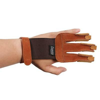 3 Finger Protector Glove Leather Archery Arrow Bow Shooting Guard