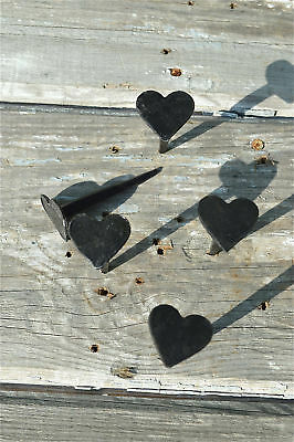 Set of 5 hand made wrought iron small Shaker heart nails coat peg barn hangers