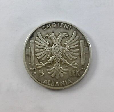 1200) Albania Italian Occupation 5 Lek 1939 Silver Circulated
