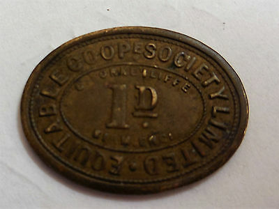 Equitable Cooperative Society Limited one penny token - G Yorke Iliffe Birm. Eng