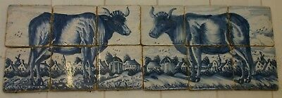 Pair Old Dutch Delft Tilepictures cows in landscape houses windmill 26 x 68 cm !