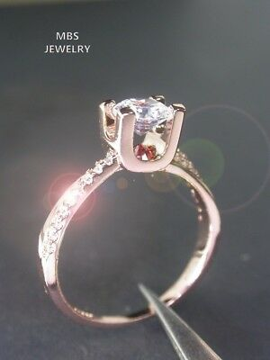 1.00Ct Super Brilliant Created Diamond 18K Rose Gold GP Special Setting Ring