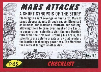 Mars Attacks The Revenge Red [99] Pencil Art Base Card P-55 Checklist