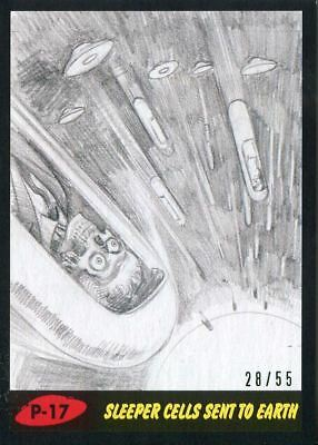 Mars Attacks The Revenge Black [55] Pencil Art Base Card P-17 Sleeper Cells Sen