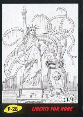 Mars Attacks The Revenge Black [55] Pencil Art Base Card P-28 Liberty for None