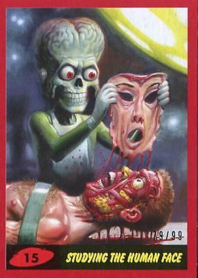 Mars Attacks The Revenge Red [99] Base Card #15 Studying the Human Face