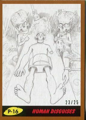 Mars Attacks The Revenge Bronze [25] Pencil Art Base Card P-16 Human Disguises