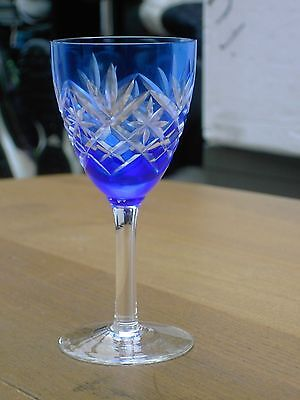 Vintage Cobalt Blue Cut to Clear wine / sherry / port glass  Free UK Postage